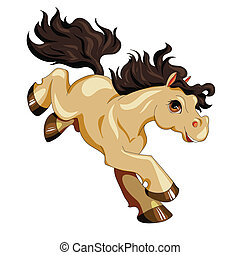 running brown pony with a black mane and tail, isolated
