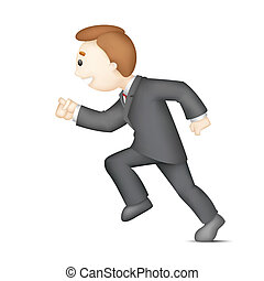 Running Business Man - illustration of 3d business man in...