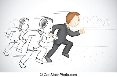 Running Business man - illustration of 3d business man in...