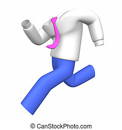Running Business Shirt And Pants. 3D render illustration. ...