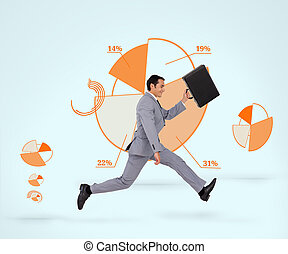 Running businessman against a diagr