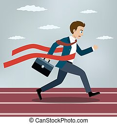 Running businessman crosses a red ribbon.