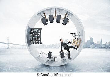 Running businessman cylinder