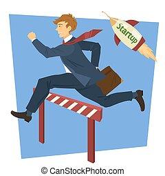 Running Businessman Jumping Over Barrier. Business Startup. Vector illustration