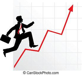 businessman on successful diagram - Running businessman on ...
