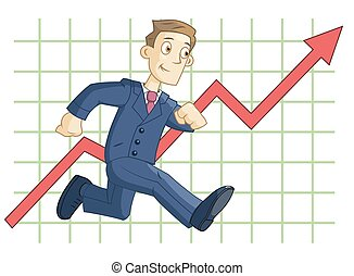 Running businessman on the business graph background