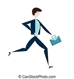 Running businessman with a briefcase. Vector illustration, isolated on white.
