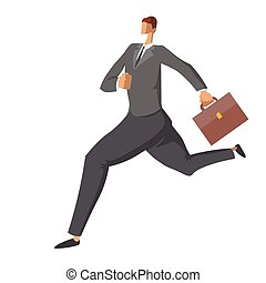 Running businessman with briefcase. Hurrying the man in a business suit. Character in flat style, vector illustration isolated on white background.