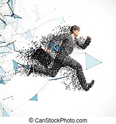 Running businessman with case made of scattered balls -...