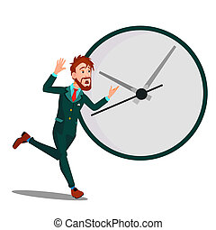 Running Businessman With Huge Clock, Time Management, Deadline Vector. Isolated Illustration