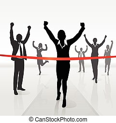running businesswoman crossing finish line win