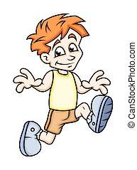 Running Cartoon Boy Character