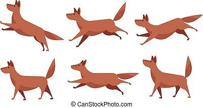 Running cartoon dog animation sprite sheet vector set isolated