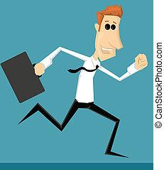 Running cartoon office worker