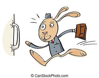 Running cartoon rabbit.