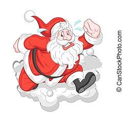 Running Cartoon Santa
