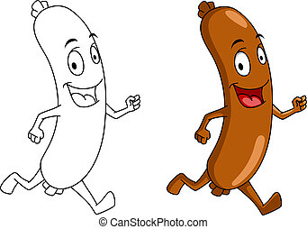 Running cartoon sausage with color and outline versions for...