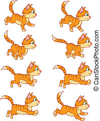 Running Cat Animation Sprite - Illustration of running cat...