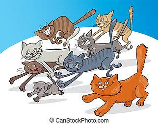 Running cats - Cartoon illustration of running cats