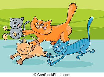 running cats group cartoon illustration