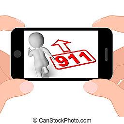 Running Character And 911 Nine One Displays Emergency Help Rescu