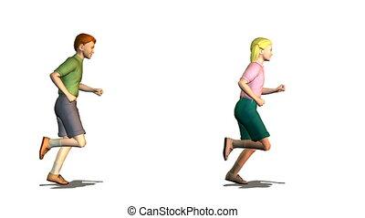 running child couple looping