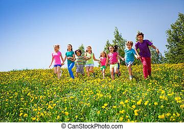 Running children holding hands in meadow