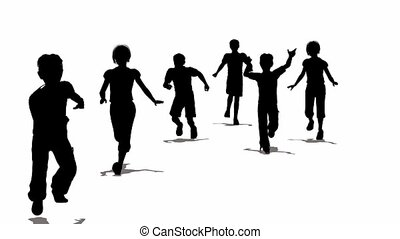 running children silhouette