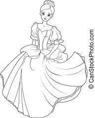 Running Cinderella Coloring Page