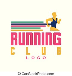 Running club logo, emblem with abstract running man, label for sports club, sport tournament, competition, marathon and healthy lifestyle vector illustration