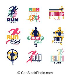 Running club logo templates set, emblems for sport organizations, tournaments and marathons colorful vector Illustrations