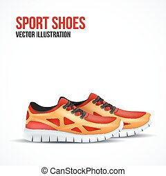 Running colorful pair shoes. Bright Sport sneakers symbol.
