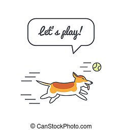Running corgi dog with speech bubble and saying