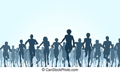 Illustration of a large group of people running
