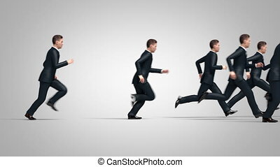 Running Crowd of Businessmen 3d Animation