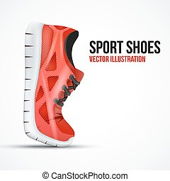 Running curved red shoes. Bright Sport sneakers symbol.