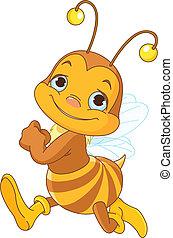 Running cute bee - Illustration of running cute bee