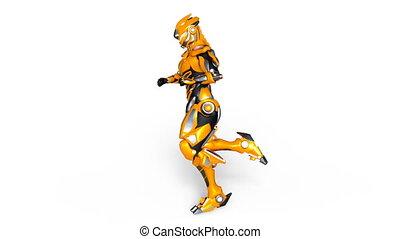 Running cyborg - 3D CG rendering of a running cyborg.