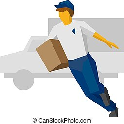Running delivery man in blue uniform holding carton box