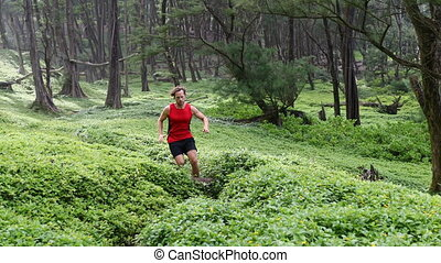 Running Determined Athlete Jogging Amidst Plants In Forest...