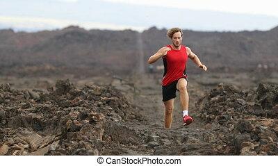 Running Determined Male Athlete Runner Jogging On Arid ...