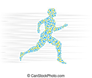 DNA, body, human, medical, molecule, science, man, genetic, health, anatomy, cell, evolution, research, silhouette, background, biology, abstract, atom, medicine, vector, running, jogging, sport, cardio, traingin, runner, active, fitness, sprinting, Recovery, motion, blue, green,