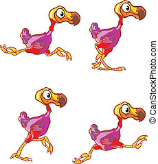 Running Dodo Sprite - Vector illustration of dodo bird...