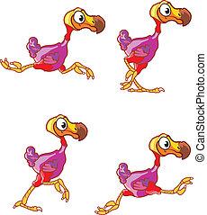 Running Dodo Sprite - Vector illustration of dodo bird...