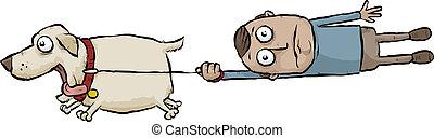Running Dog - A running cartoon dog pulls its owner on a...
