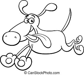 running dog cartoon coloring page