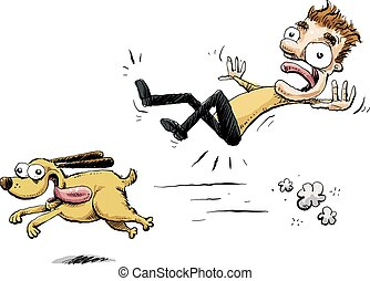 Running Dog Collision - A happy, cartoon dog dashes forward...