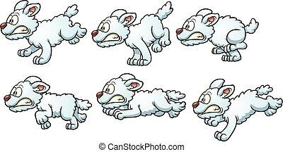 Running dog - Dog run cycle. Vector clip art illustration ...