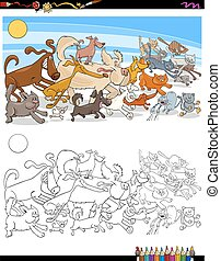 running dogs and cats characters color book