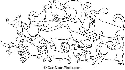 running dogs for coloring